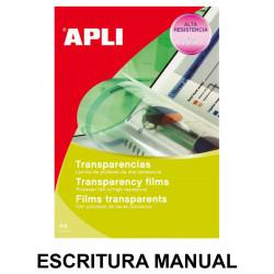 Transparencia en poliéster apli apta para escritura manual en formato din a-4, caja de 100 uds.