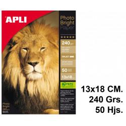 Papel ink-jet apli photobright en formato 13x18 cm. de 240 grs/m². carpeta de 50 hojas.