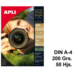 Papel ink-jet apli everyday photobright en formato din a-4 de 200 grs/m². bolsa de 50 hojas.