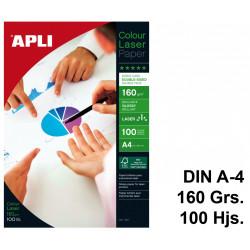 Papel láser apli colour glossy double-sided en formato din a-4 de 160 grs/m². caja de 100 hojas.