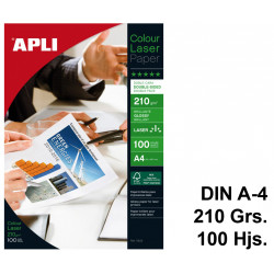 Papel láser apli colour glossy double-sided en formato din a-4 de 210 grs/m². caja de 100 hojas.
