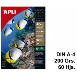 Papel ink-jet apli photo satin semi-glossy en formato din a-4 de 200 grs/m². paquete de 60 hojas.