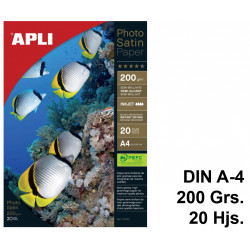 Papel ink-jet apli photo satin semi-glossy en formato din a-4 de 200 grs/m². paquete de 20 hojas.