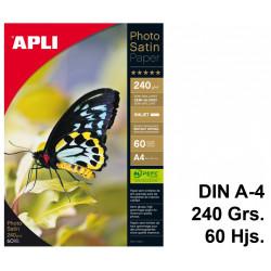 Papel ink-jet apli photo satin semi-glossy en formato din a-4 de 240 grs/m². paquete de 60 hojas.