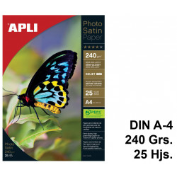 Papel ink-jet apli photo satin semi-glossy en formato din a-4 de 240 grs/m². paquete de 25 hojas.