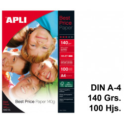 Papel ink-jet apli best price glossy en formato din a-4 de 140 grs/m². bolsa de 100 hojas.