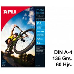 Papel ink-jet apli photobasic glossy en formato din a-4 de 135 grs/m². caja de 60 hojas.