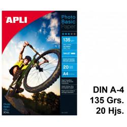 Papel ink-jet apli photobasic glossy en formato din a-4 de 135 grs/m². carpeta de 20 hojas.