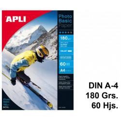 Papel ink-jet apli photobasic glossy en formato din a-4 de 180 grs/m². caja de 60 hojas.
