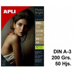 Papel ink-jet apli photobright en formato din a-3 de 200 grs/m². caja de 50 hojas.