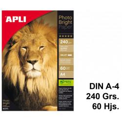 Papel ink-jet apli photobright en formato din a-4 de 240 grs/m². caja de 60 hojas.