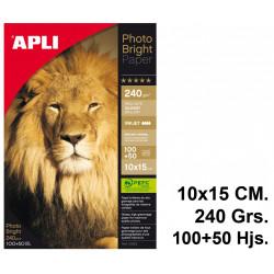 Papel ink-jet apli photobright en formato 10x15 cm. de 240 grs/m². caja de 100+50 hojas.
