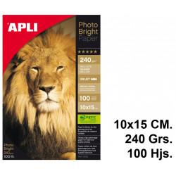 Papel ink-jet apli photobright en formato 10x15 cm. de 240 grs/m². caja de 100 hojas.