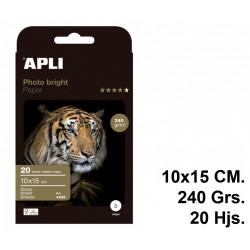 Papel ink-jet apli photobright en formato 10x15 cm. de 240 grs/m². carpeta de 20 hojas.
