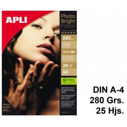 Papel ink-jet apli photobright en formato din a-4 de 280 grs/m². carpeta de 25 hojas.