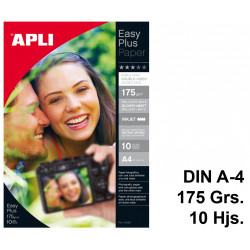 Papel ink-jet apli easy plus double-sided glossy+matt en formato din a-4 de 175 grs/m². carpeta de 10 hojas.