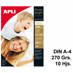 Papel ink-jet apli photobright glossy double-sided en formato din a-4 de 270 grs/m². carpeta de 10 hojas.