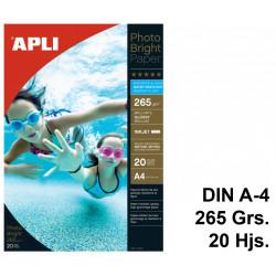 Papel ink-jet apli photobright water resistant glossy en formato din a-4 de 265 grs/m². carpeta de 20 hojas.