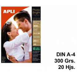 Papel ink-jet apli photobright long life glossy en formato din a-4 de 300 grs/m². carpeta de 20 hojas.