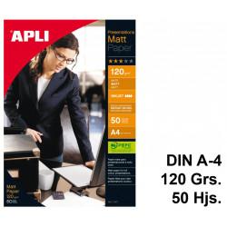 Papel ink-jet apli presentations matt en formato din a-4 de 120 grs/m². carpeta de 50 hojas.