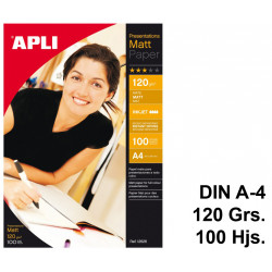 Papel ink-jet apli presentations matt en formato din a-4 de 120 grs/m². bolsa de 100 hojas.
