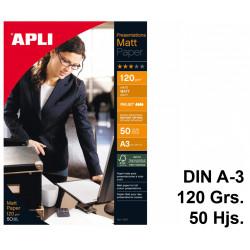 Papel ink-jet apli presentations matt en formato din a-3 de 120 grs/m². caja de 50 hojas.