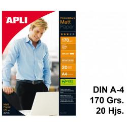 Papel ink-jet apli presentations matt en formato din a-4 de 170 grs/m². carpeta de 20 hojas.