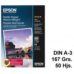 Papel ink-jet epson matte paper heavy weight en formato din a-3 de 167 grs/m². caja de 50 hojas.