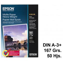Papel ink-jet epson matte paper heavy weight en formato din a-3+ de 167 grs/m². caja de 50 hojas.