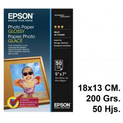 Papel ink-jet epson photo paper glossy en formato 13x18 cm. de 200 grs/m². caja de 50 hojas.