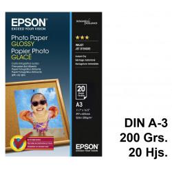 Papel ink-jet epson photo paper glossy en formato din a-3 de 200 grs/m². caja de 20 hojas.