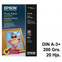Papel ink-jet epson photo paper glossy en formato din a-3+ de 200 grs/m². caja de 20 hojas.