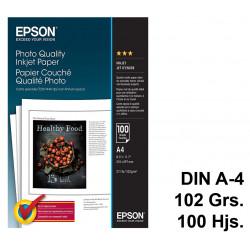 Papel ink-jet epson photo quality en formato din a-4 de 102 grs/m². caja de 100 hojas.