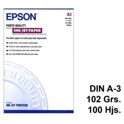 Papel ink-jet epson photo quality en formato din a-3 de 102 grs/m². caja de 100 hojas.