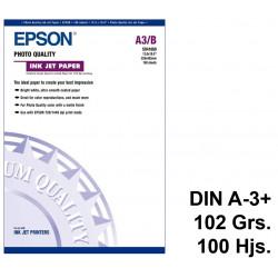 Papel ink-jet epson photo quality en formato din a-3+ de 102 grs/m². caja de 100 hojas.