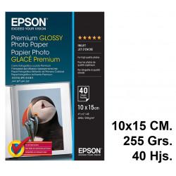 Papel ink-jet epson premium glossy photo paper en formato 10x15 cm. de 255 grs/m². caja de 40 hojas.