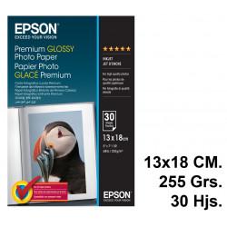 Papel ink-jet epson premium glossy photo paper en formato 13x18 cm. de 255 grs/m². caja de 30 hojas.