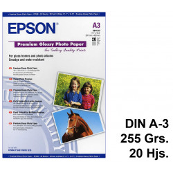 Papel ink-jet epson premium glossy photo paper en formato din a-3 de 255 grs/m². caja de 20 hojas.