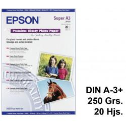 Papel ink-jet epson premium glossy photo paper en formato din a-3+ de 250 grs/m². caja de 20 hojas.