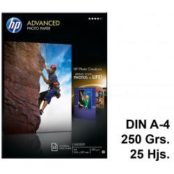 Papel ink-jet hp advanced photo paper en formato din a-4 de 250 grs/m². caja de 25 hojas.