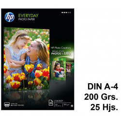 Papel ink-jet hp everyday photo paper en formato din a-4 de 200 grs/m². caja de 25 hojas.