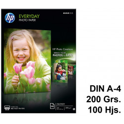 Papel ink-jet hp everyday photo paper en formato din a-4 de 200 grs/m². caja de 100 hojas.