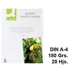 Papel ink-jet q-connect glossy photo paper en formato din a-4 de 180 grs/m². bolsa de 20 hojas.