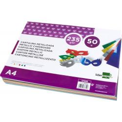 Cartulina metalizada liderpapel en formato din a-4 de 235 grs/m². 5 colores surtidos, paquete de 50 uds.