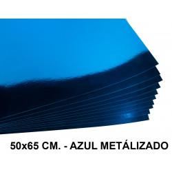 Cartulina metalizada liderpapel en formato 50x65 cm. de 235 grs/m². color azul.