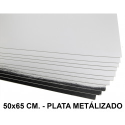 Cartulina metalizada liderpapel en formato 50x65 cm. de 235 grs/m². color plata.