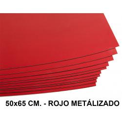 Cartulina metalizada liderpapel en formato 50x65 cm. de 235 grs/m². color rojo.