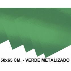 Cartulina metalizada liderpapel en formato 50x65 cm. de 235 grs/m². color verde.
