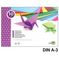 Bloc de trabajos manuales - cartulina liderpapel en formato din a-3 de 180 grs/m². con 10 colores surtidos.