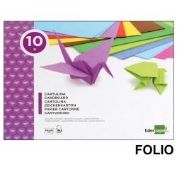 Bloc de trabajos manuales liderpapel con 10 hojas de cartulina 315x240 mm. en colores surtidos.